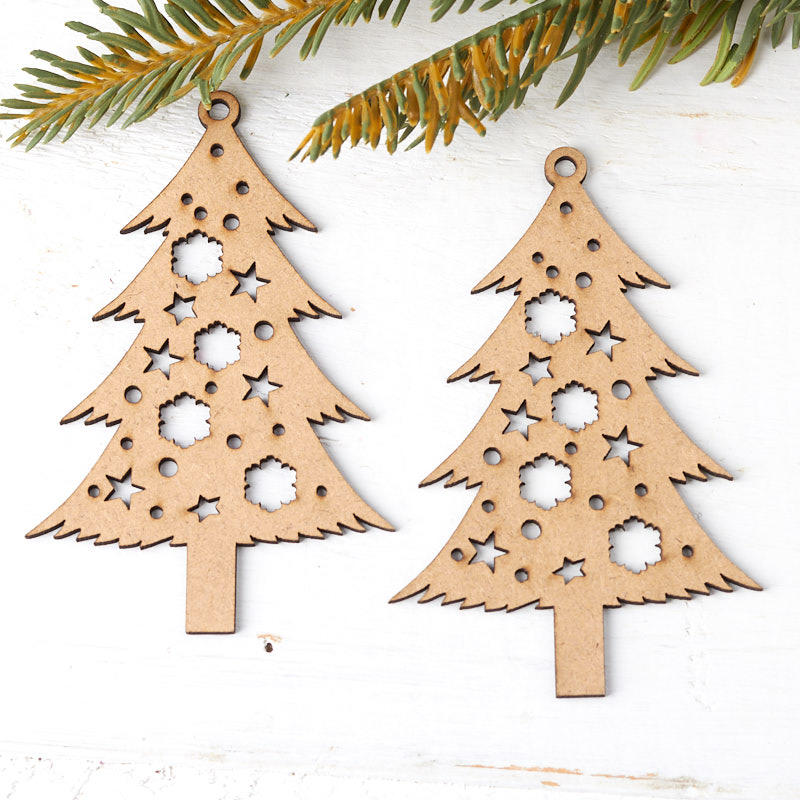 Christmas Tree Ornaments.Unfinished Wood Laser Cut Christmas Tree Ornaments