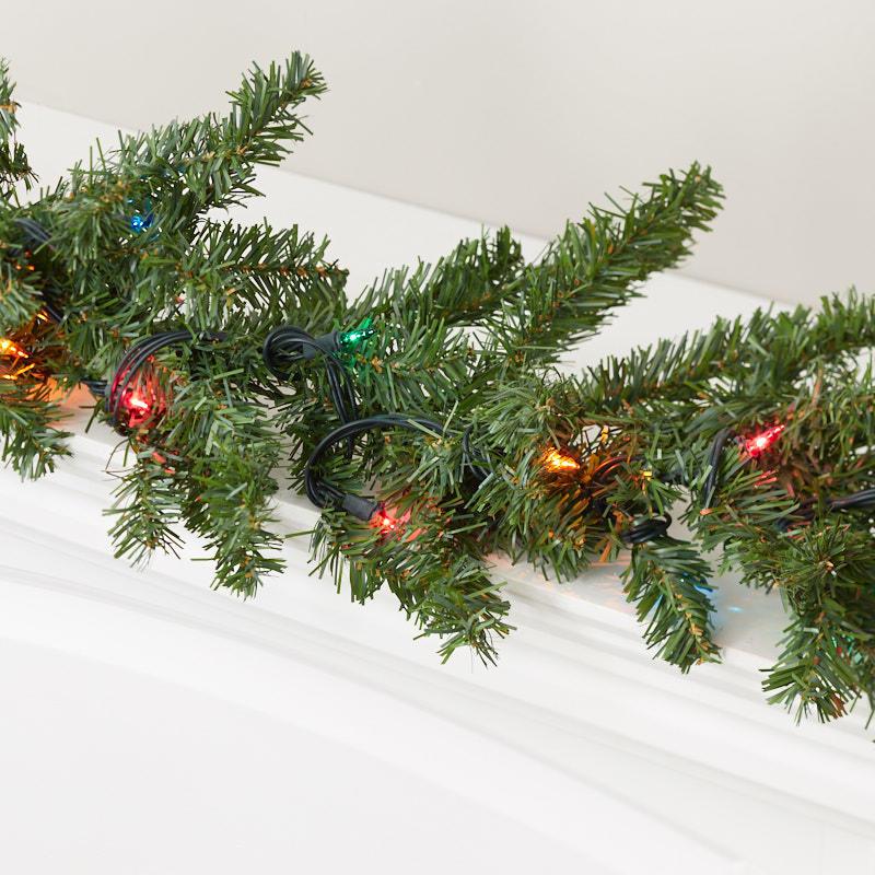 Christmas Pine Garland.Multi Colored Pre Lit Artificial Pine Garland