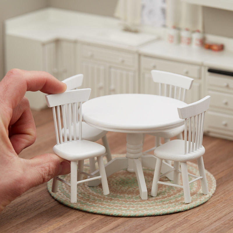 Dollhouse Miniature White Kitchen Table And Chairs Set