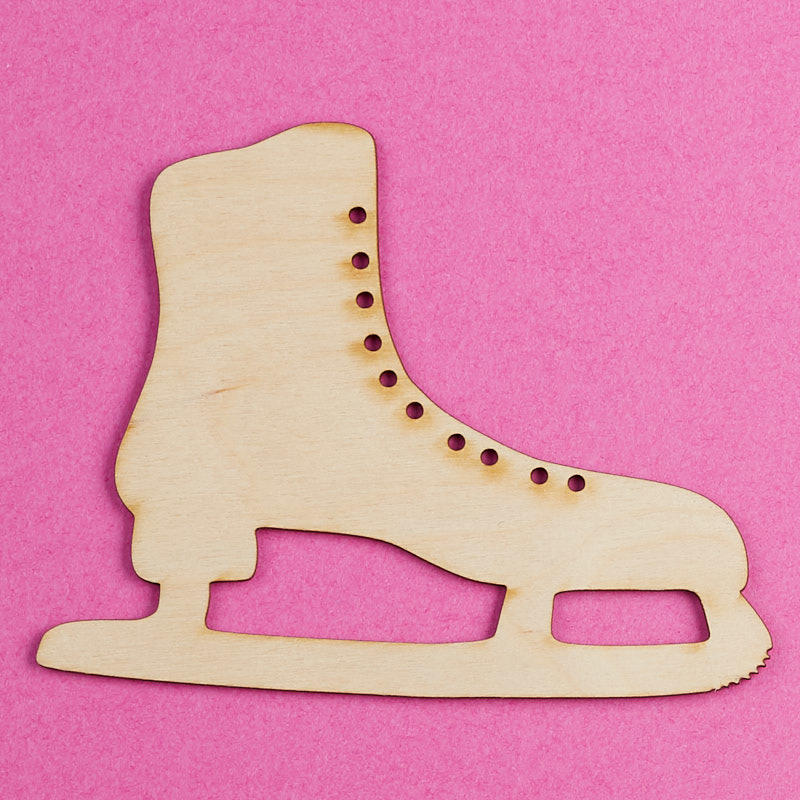 Unfinished Wood Ice Skate Cutout
