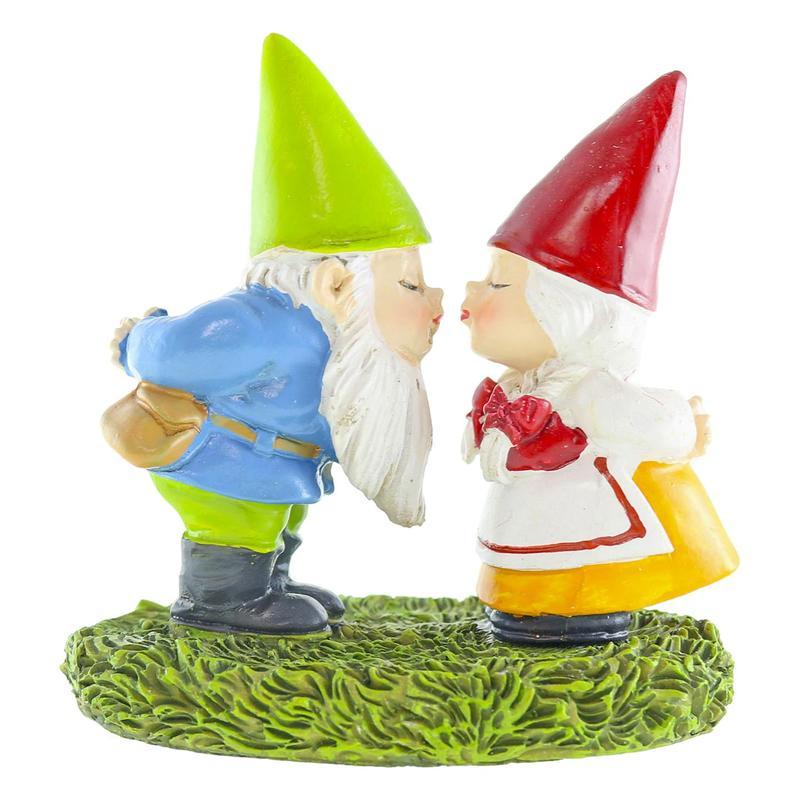 Gnome In Garden: Miniature Kissing Garden Gnome Couple Figurine