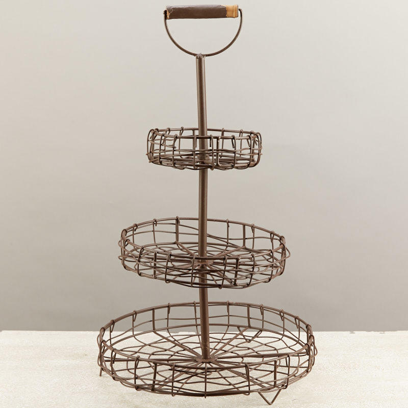Rustic 3 Tier Wire Basket Stand Baskets Buckets Boxes Home Decor
