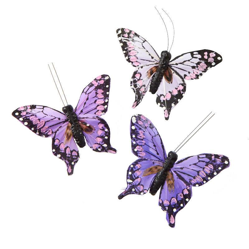 Purple Feathered Artificial Butterflies Birds Butterflies