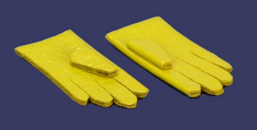 Dollhouse Miniature plastic Yellow Rubber Gloves