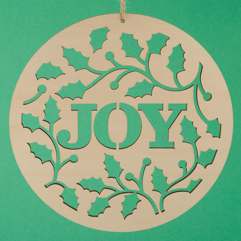 Unfinished Wood Joy Laser Cut Ornament