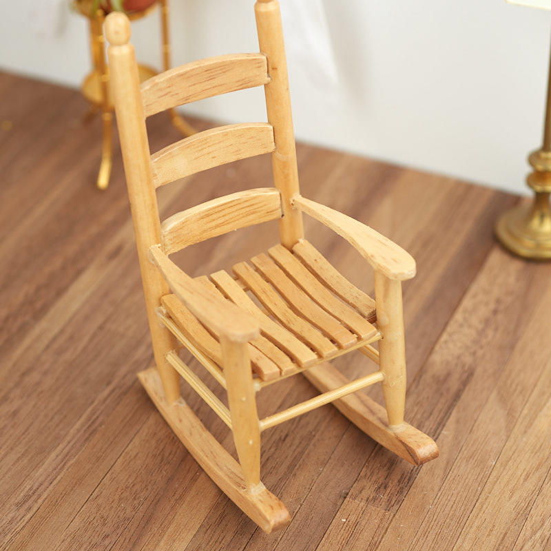 Dollhouse Miniature Wooden Cabin Rocking Chair Miniature