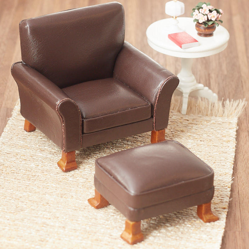 Fabulous Dollhouse Miniature Brown Leather Chair And Ottoman Set Gmtry Best Dining Table And Chair Ideas Images Gmtryco