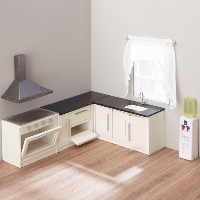 White Kitchen Sets: Dollhouse Miniature White Kitchen Set