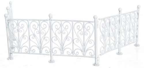Dollhouse Miniature White Wrought Iron Fence Dollhouse