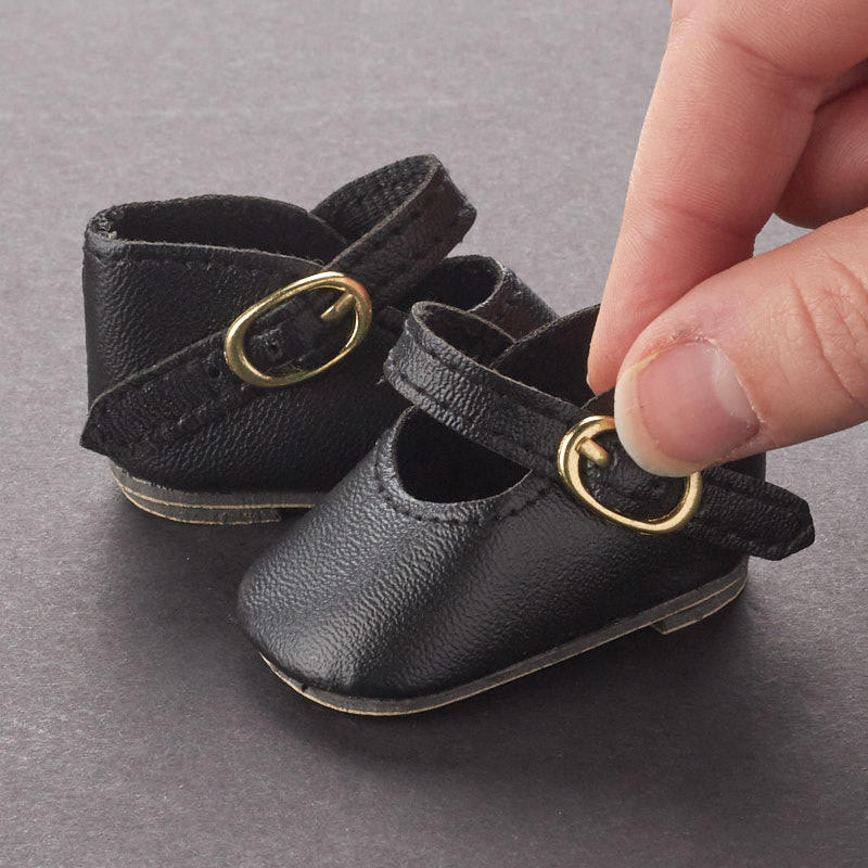 Talina's Black Gold Buckle Doll Shoes