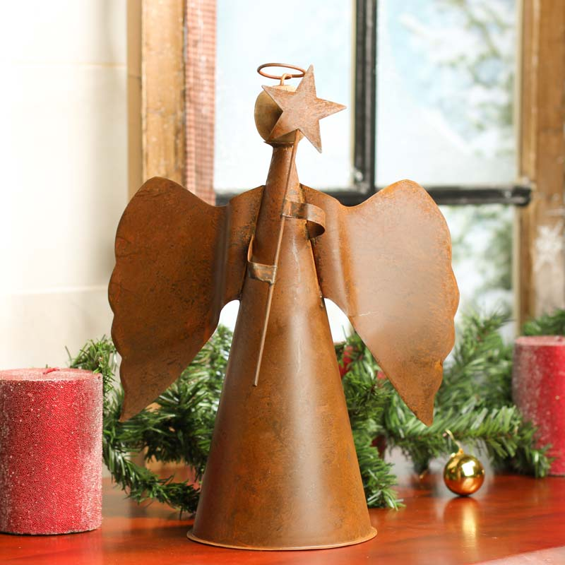 Rustic Tin Angel Christmas Tree Topper
