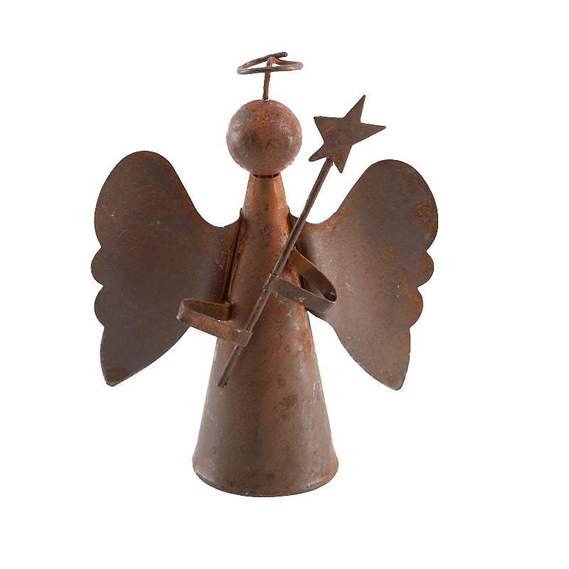 Small Angel Christmas Tree Topper: Rustic Tin Angel Christmas Tree Topper