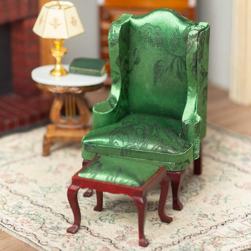 Dollhouse Miniature Green Queen Anne Wingback Chair With