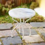 Dollhouse Miniature White Round Marble Top Table