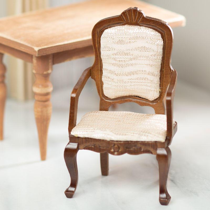 Dollhouse Miniature 1:12 Scale Gorgeous Walnut Carved Bourbon Armchair