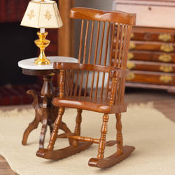 Peachy Dollhouse Miniature Walnut Windsor Rocking Chair Caraccident5 Cool Chair Designs And Ideas Caraccident5Info