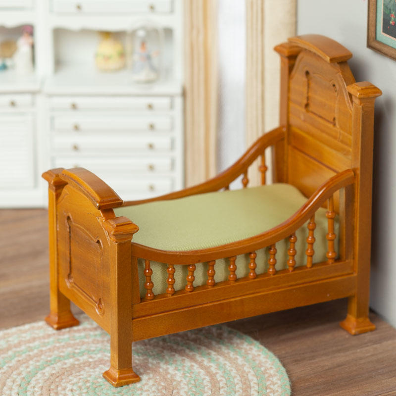 Dollhouse Miniature Walnut Victorian Toddler Bed