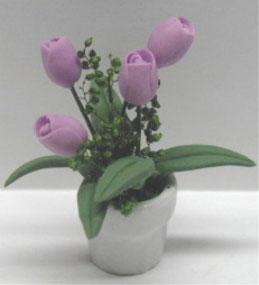 Dollhouse Miniature Purple Tulip Flowers in White Pot Beautiful Detail ~ RP0694