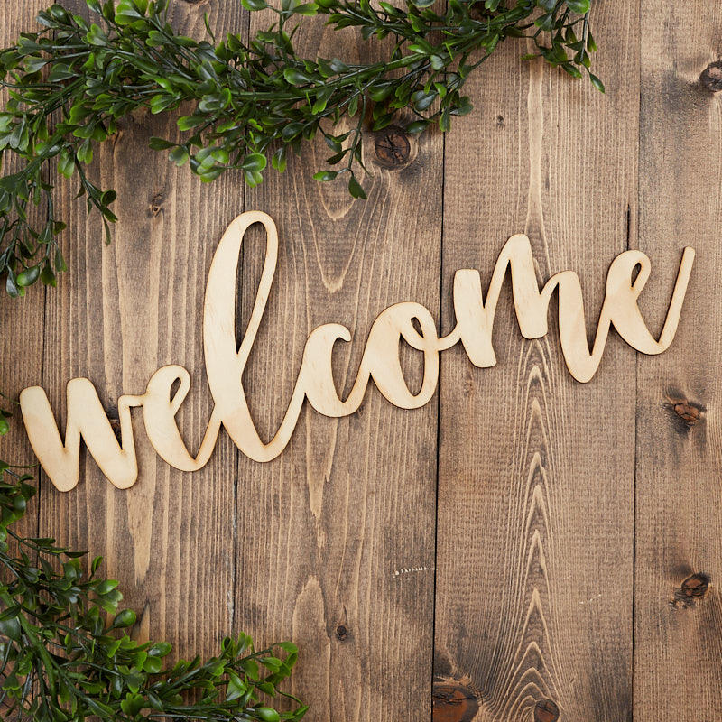 """Unfinished Wood """"Welcome"""" Word Sign - Decorative Accents ..."""