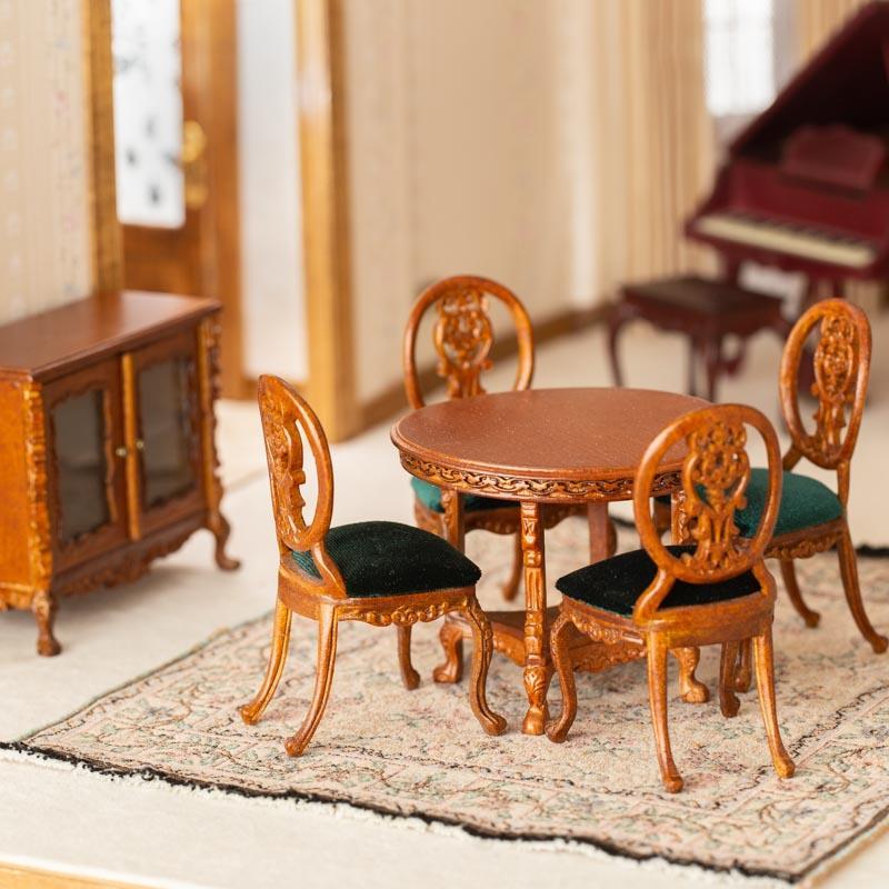 Dollhouse Miniature Bespaq Le Petite Walnut Dining Room Set