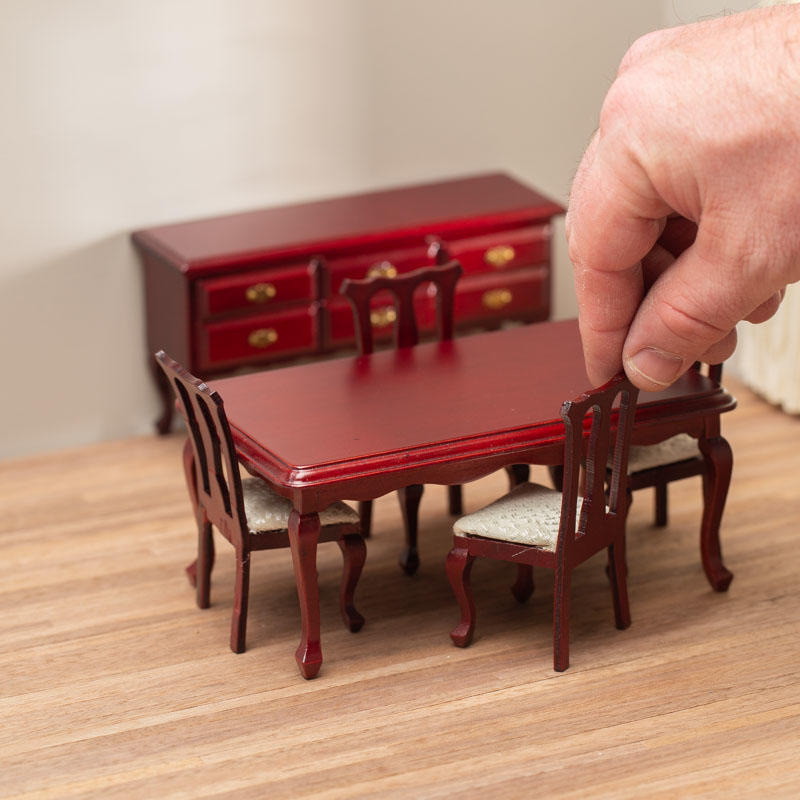 Dollhouse Miniature Mahogany Queen Anne Dining Room Set