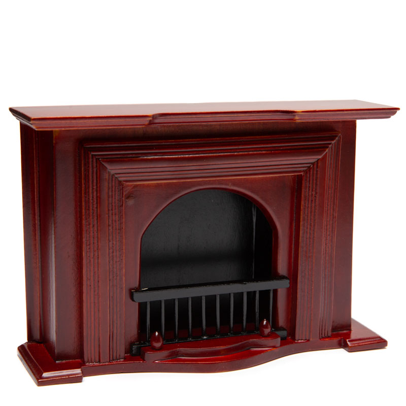 Dollhouse Miniature Mahogany Fireplace