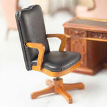 Dollhouse Miniature Walnut Faux Brown Leather Swivel Desk Chair