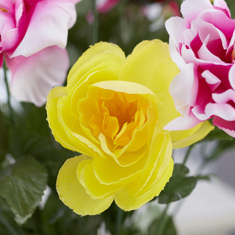 Fuchsia And Yellow Artificial Peony Lily And Ranunculus