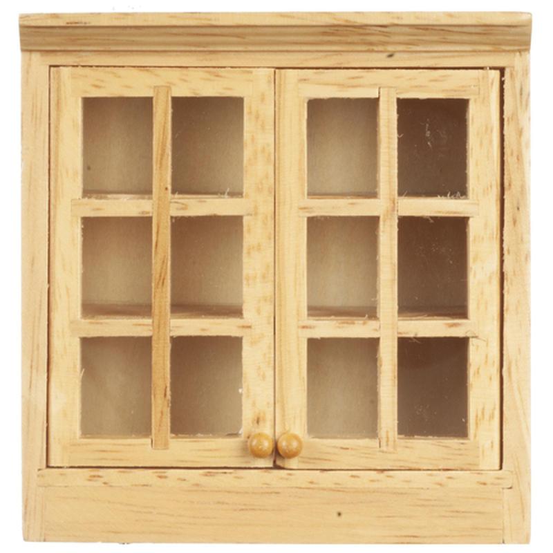 Dollhouse Miniature Upper Oak Kitchen Cabinet