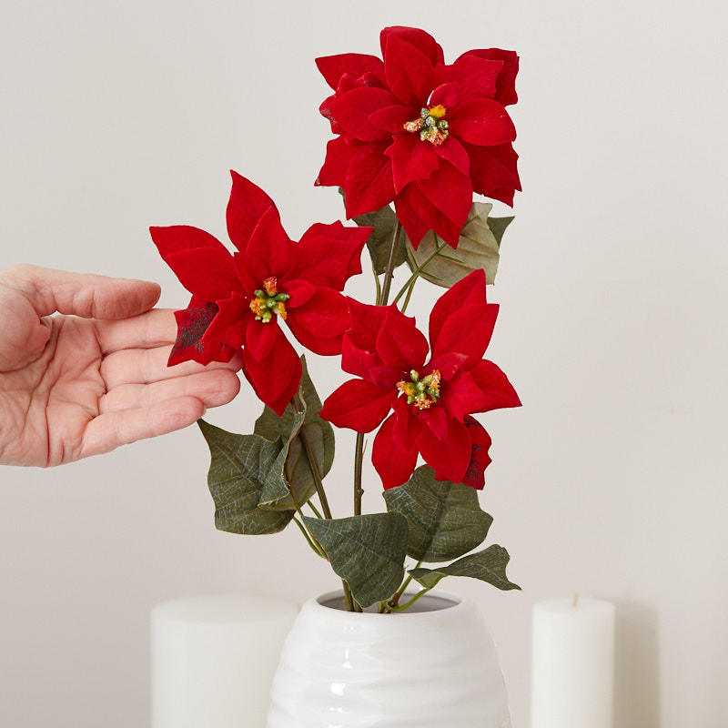 Red Artificial Poinsettia Stem Christmas Holiday Florals Floral Supplies Craft Supplies Factory Direct Craft