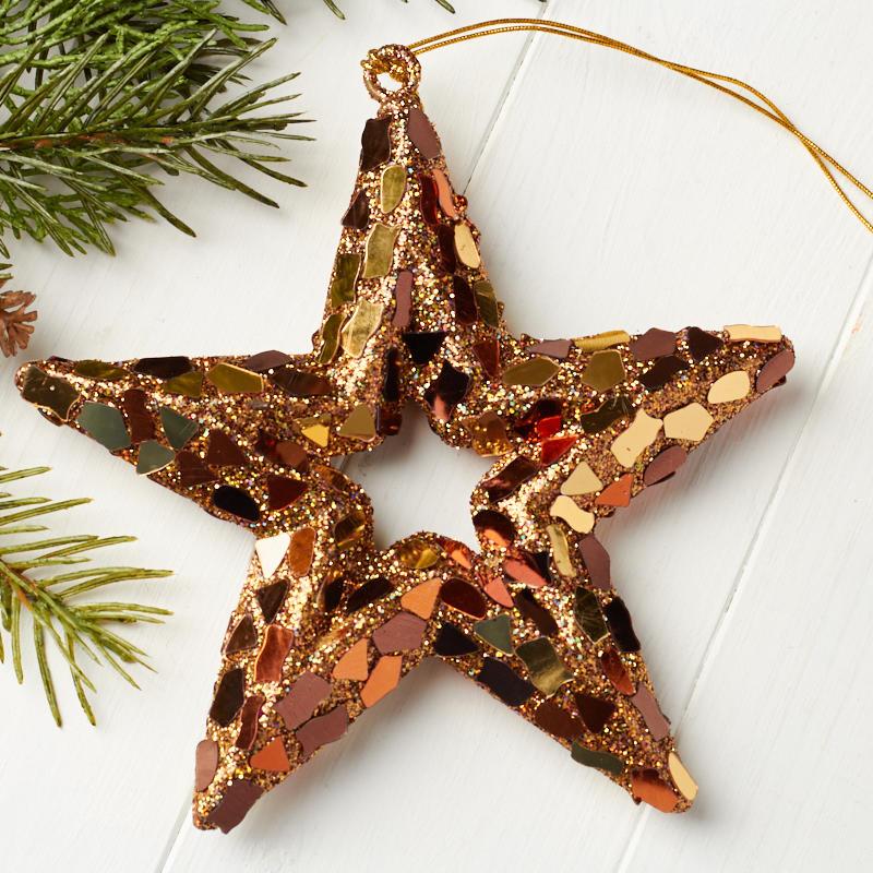 Copper Christmas Ornaments.Copper Glittered Star Ornament