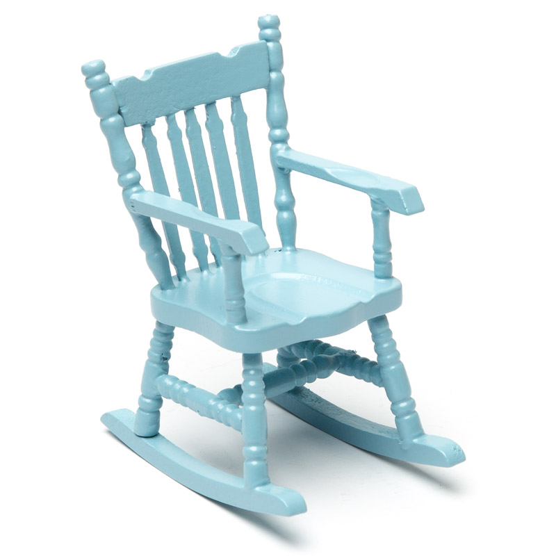 Dollhouse Miniature Soft Blue Boston Rocker