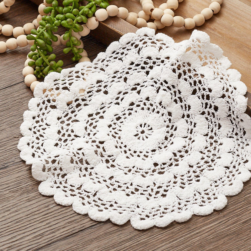 Miniature Doily 4 in Round in White Cotton