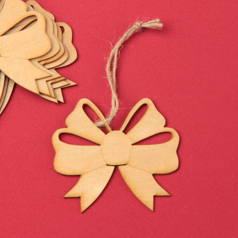 Laser Cut Out Unfinished Wood Shape Craft Supply BOW2 Ribbon