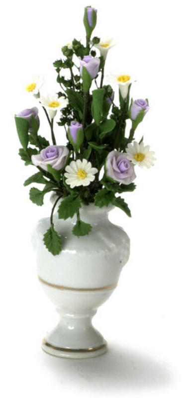 12th Dolls House Miniature Lilies in a Glass Vase Flower F Bunch W1V2 P3F3 C6K4