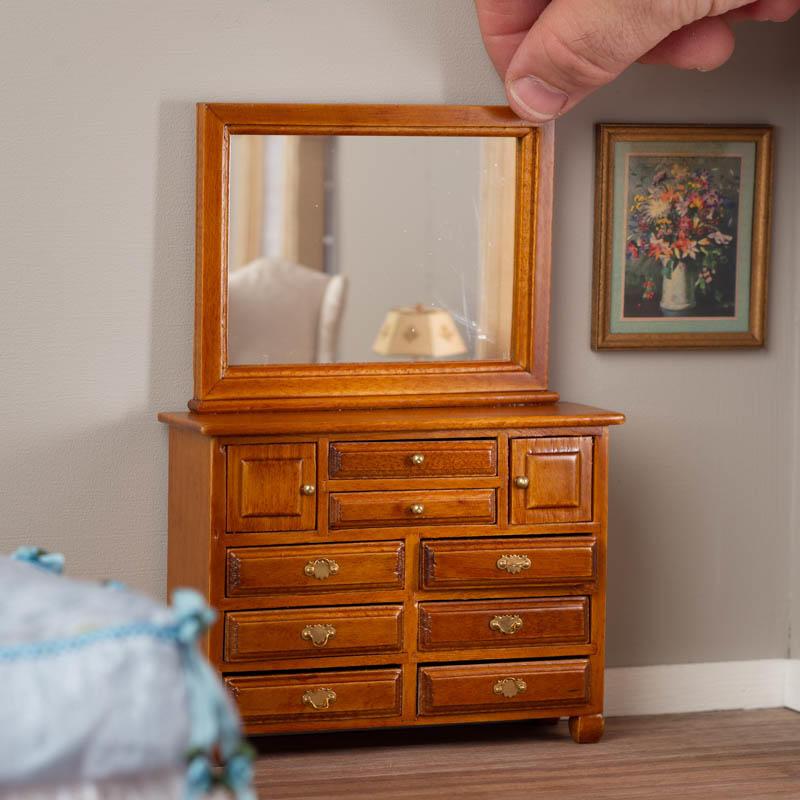 Dollhouse Miniature Bedroom Furniture Walnut Wood Cheval Dressing Mirror