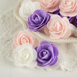 Lavender, Pink and White Artificial Rose Heads
