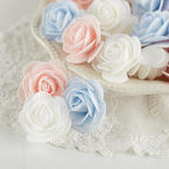 White, Pink and Light Blue Artificial Rose Heads