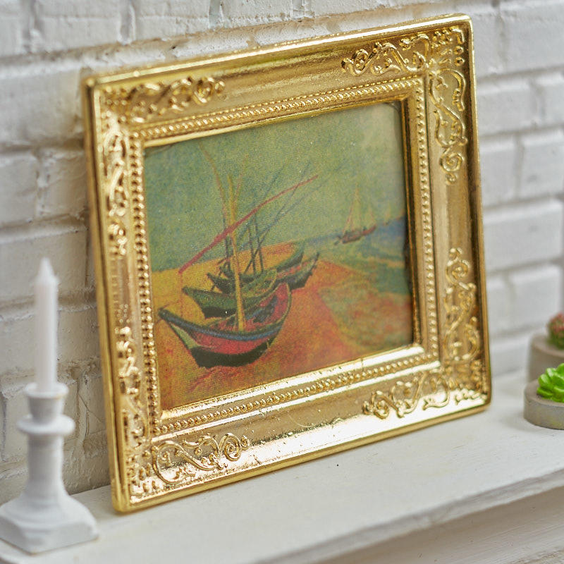Dollhouse Miniature Gold Framed Picture of butterflies