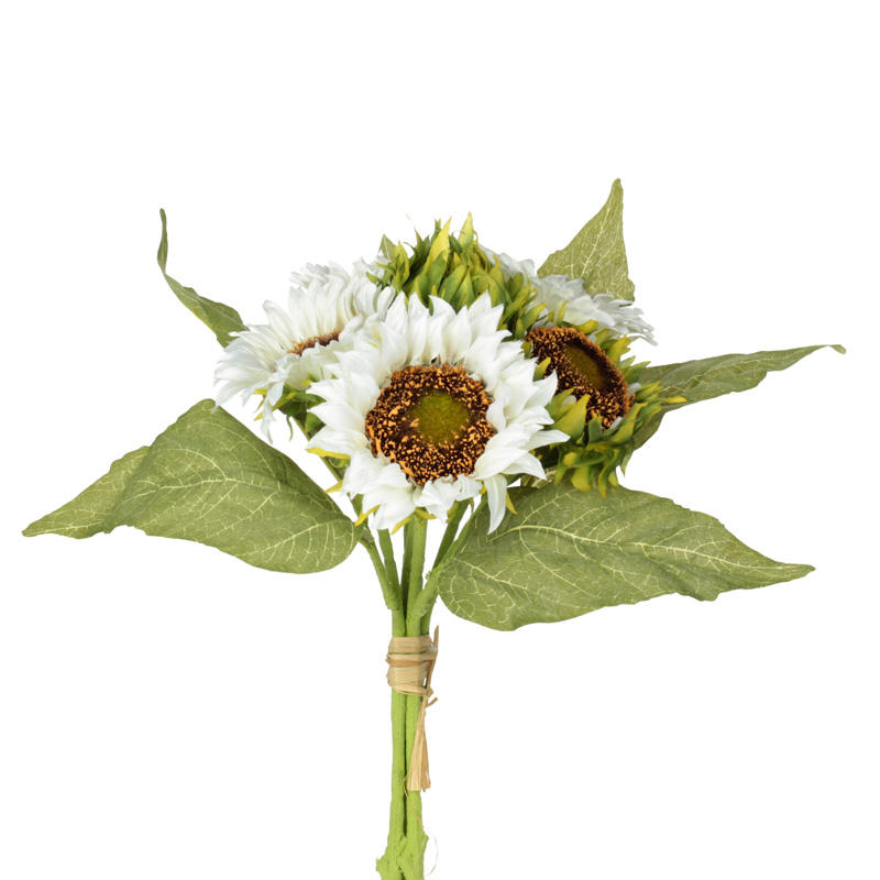 Factory Direct Craft Artificial Yellow Fuzzy Centered White Daisy Bush