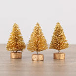 Miniature Frosted Gold Glittered Bottle Brush Trees