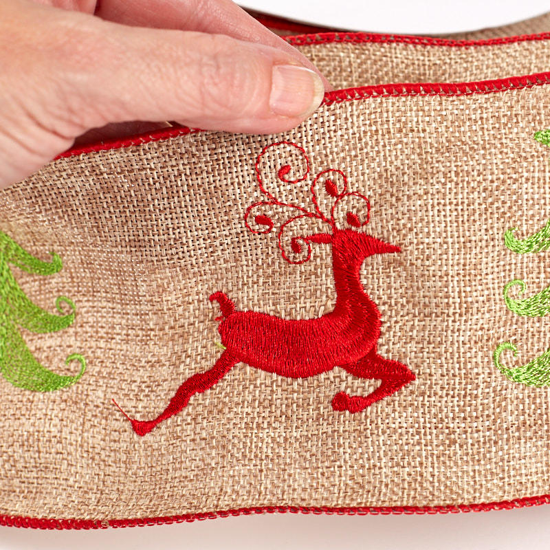 """Burlap And Red Christmas Tree: 4"""" Natural Burlap Red Reindeer And Green Christmas Tree"""