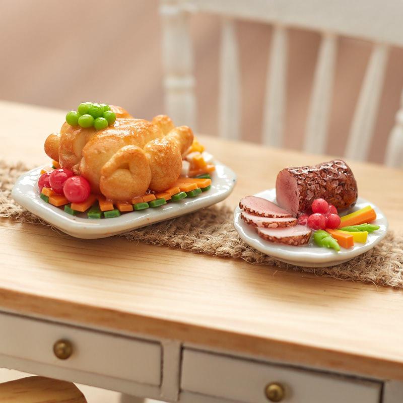 2 Dollhouse Miniature Foods on Plates Ham Turkey Dinner Xmas
