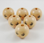 Pre painted Wooden Doll Head Happy Face Beads