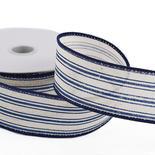 Cream Linen Navy Ticking Stripes Ribbon