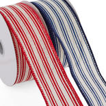 Cream Linen Red and Navy Ticking Stripes Ribbon Set