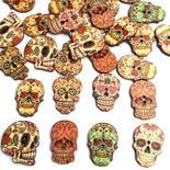 Wooden Dios de Muerteo Skull Buttons