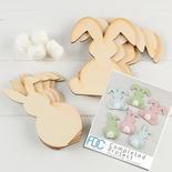 Unfinished Wood Floppy Ear & Fluffy Tail Bunny Rabbit Kit