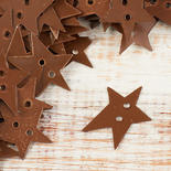 Rustic Painted Tin Folk Star Buttons