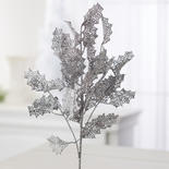 Silver Glittered Artificial Holly Leaf Stem